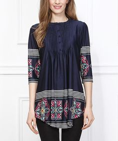 Take a look at this Navy Tile Notch Neck Tunic - Women on zulily today!