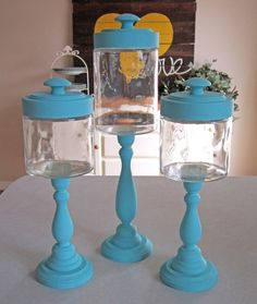 """Candlestick Jar tutorial - candle sticks, baby food jars, drawer pulls - party favors for the """"tea party"""" birthday"""