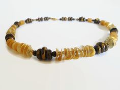 Brown yellow beadwork gemstone semi precious choker necklace, made of tigereye, jade, agate and vermeil elements,  with a magnetic clasp