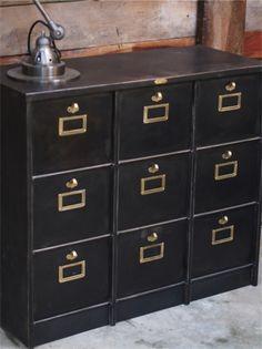 meuble console Morgan 9 grand casiers industriel clapet plateau metal