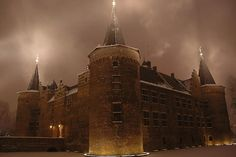 Foggy night at Castle Helmond -- Netherlands.