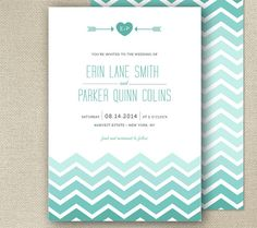 Modern Chevron Gradient, Printable Wedding Invitation - CHEVRON SEA collection - aqua blue