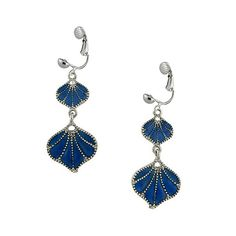 Hear the ocean waves in these beautiful beachy dangle earrings. Summer seashells are given a color boost with glossy hand-painted Monaco blue enamel. These sea-worthy stunners hang from a metallic silver French wire.