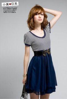 Kawaii Craving - Kawaii Japan Nautical Sailor Stripe High Waist Dress *2 color    Love this dress