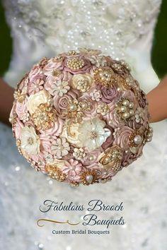 Rose Gold Blush Pink Brooch Bouquet #GoldBrooches