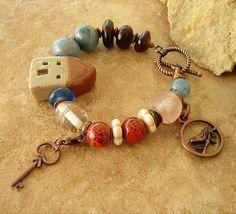 Tiny House, Boho, Folk Art Bracelet, Artisan Jewelry, Handmade Bracelet, Beaded Bracelet, Unique One of a Kind Jewelry