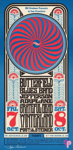 Class Winterland Poster Featuring: Butterfield Blues Band, Jefferson Airplane and the Grateful Dead