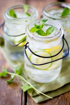 detox water - H2O, pieces of cut lemons, mint leaves...refreshing!