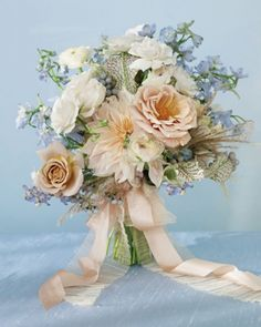 Powder-blue and nude bouquet