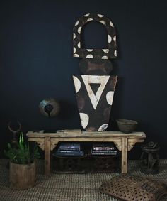 african nafana bedu mask, makenge basket, african currency, chinese bench, african stools, kuba cloth pillow, #cactus #natureinthehome @apartmentf15