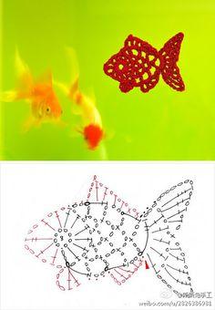 crocheted fish motif chart