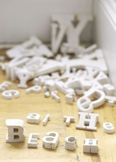 letters in various shapes and sizes - leave in a bowl for people to play with