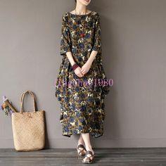 Retro Loose Long Dress Women's Floral Printed Cotton Linen Maxi Dresses Ch