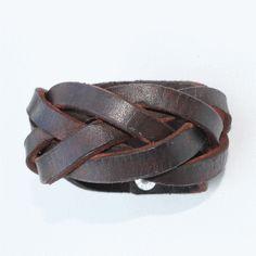 Brown Leather Cuff - Braided