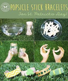 DIY Popsicle Stick Bracelets…for St. Popsicle Stick Bracelets, Popsicle Stick Crafts, Popsicle Sticks, Craft Stick Crafts, Preschool Crafts, Crafts To Make, Fun Crafts, Projects For Kids, Diy For Kids