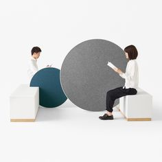 Japanese design studio Nendo has created an installation of circular office furniture that can be wheeled around to quickly rearrange the workspace.