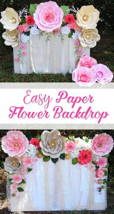 Learn how to make this quick and easy paper flower backdrop. Flower templates and tutorials available.Giant paper flowers. #DIY MamasGoneCrafty.com
