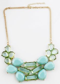 Blue Drop Gemstone Gold Chain Necklace