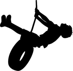 The Lady Wolf: Boy Swinging on Tire Silhouette SVG