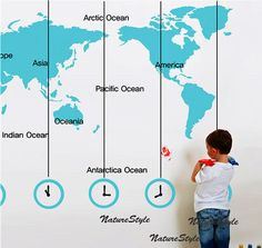 World map decal with times... although this wouldn't account for various daylight savings shifts around the world.