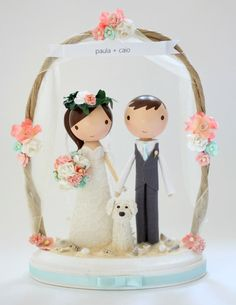 custom wedding cake topper beach arch