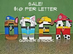 PLEASE READ ENTIRE DESCRIPTION BEFORE PURCHASING....  LETTERS:  The letters are hand painted to match each character in a whimsical and unique way.