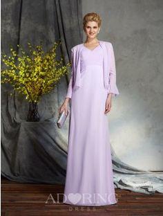 Sheath V-neck Sleeveless Chiffon Floor-Length Mother of the Bride Dress