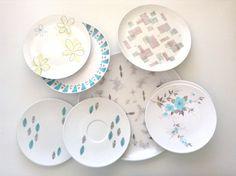 Fun set of 8 patterned 1950s plastic dinnerware; melamine plates saucer  sc 1 st  Pinterest & Cute ladybug plastic bowl B\u0026D Japan vintage by PBandW on Etsy ...