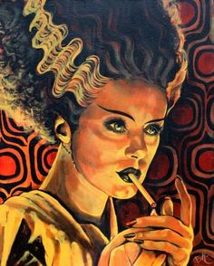 Bride of Frankenstein lights up by Mike Bell He sent me my iPhone 5s case with this print. Love mike bell