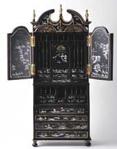 Black Chinoiserie Secretary - this is a miniature, but I want one in right size :-D