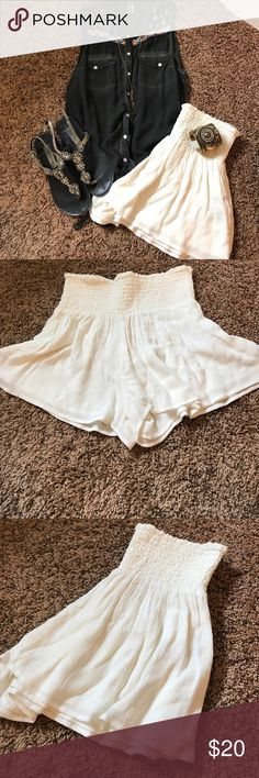 🐚White Flowy Boho Shorts🐚 Super fun and breezy white Boho shorts made in India.  So adorable on with just about anything!  Hard to find and only worn once! Shorts