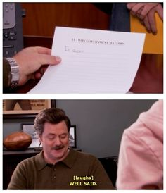 Parks and Recreation why does government matter Parks And Rec Memes, Parks And Recreation, Parcs And Rec, Minions, Funny Jokes, Hilarious, Funny Texts, Tv Quotes, I Love To Laugh