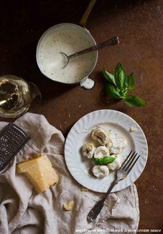 Mushroom Tortellini With Lemon Cream Sauce (The White Ramekins) A Food, Good Food, Awesome Food, Lemon Cream Sauces, Traditional Italian Dishes, Pasta Noodles, Pasta Recipes, Tortellini Recipes, Pasta Dishes