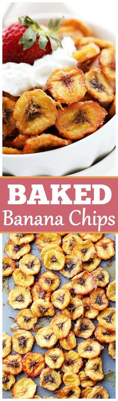 Homemade Baked Banana Chips - great for snacking and back to school lunches.
