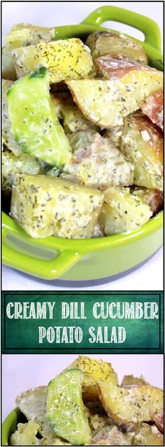 Creamy Dill Cucumber and Potato Salad - 52 Church PotLuck Side Dishes... A wonderful exotic unique potato salad. Herbal deliciousness with plenty of DILL, cool summer cucumbers and a thick creamy coating make for a wonderful side dish!