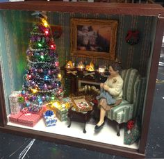 Shop for quality, diy miniatures: printed and laser cut kits, peel & stick wallpaper, and more. Miniature Crafts, Miniature Christmas, Christmas Minis, Christmas Baby, Vintage Christmas, Miniature Rooms, Diaroma Ideas, Diy Christmas Shadow Box, Gingerbread Christmas Tree