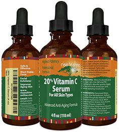 4 oz 20 Vitamin C Serum with Hyaluronic Acid  Stimulates Collagen for AntiAging Repairs Dark Circles Around Eyes and Sun Damage for Skin Face and Neck Fades Age Spots and Wrinkles >>> To view further for this item, visit the image link. (Note:Amazon affiliate link)