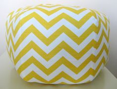 """18"""" Ottoman Pouf Floor Pillow Yellow Chevron Zig Zag. For B's room and may be the playroom."""