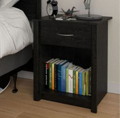 Modern Nightstand With Single Drawer Bedroom Furniture Black Ebony Ash Finish