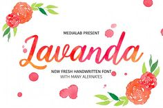 COMMERCIAL USE ALLOWED Lavanda - a new fresh handmade calligraphy font. Very suitable for greeting cards, branding materials, business cards, quotes, posters, and more!