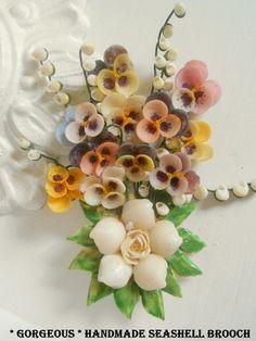 LARGE Handmade Seashell Brooch. OMG!
