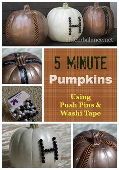5 Minute Pumpkins Using Push Pins and Washi Tape #Halloween #fall