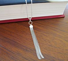 Sterling Silver Long Tassle Tassel Necklace by NikkiHillsDesign - Long Silver Necklace - Contemporary Silver Necklace - Boho Necklace