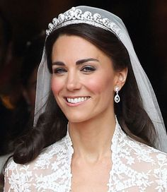 Princess Katherine Middleton: Classic Bridal Half-Updo w/Cathedral Lenght Veil and Diamond Tiara.