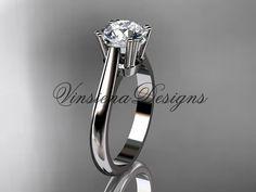Platinum engagement ring Forever One Moissanite by VinsienaDesigns