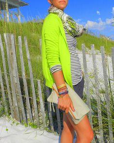 Neon cardigan + stripes