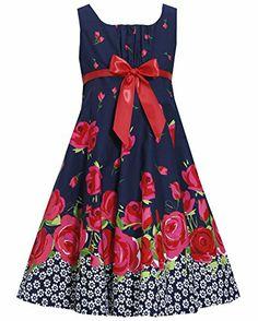 * TWEEN GIRLS 7-16 * Navy-Blue Red Bow Front Floral Border Print Fit-N-Flare Dress NV4MU, Navy, Bonnie Jean Tween Girls 7-16 Special Occasion, Flower Girl Social Party Dress Bonnie Jean http://www.amazon.com/dp/B00KYSUJ9U/ref=cm_sw_r_pi_dp_5EWMtb092J5WXRVW