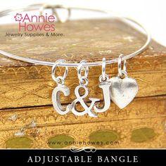 Adjustable Bangle Charm Bracelet in Silver or Gold. Charm Bracelet. Nu Annie Howes