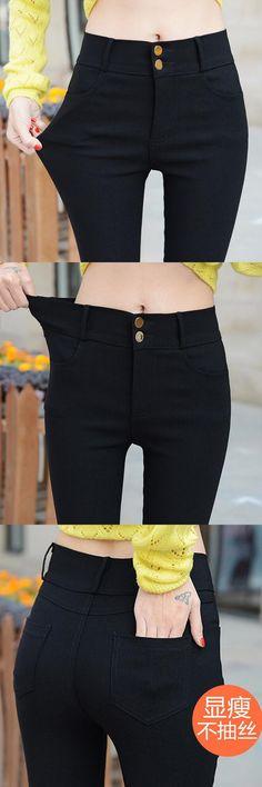 83f5f4780dd2b 2017 fashion women slim tight elastic pencil pants Ms high-grade black thin  leg pants Women elastic waistline Casual trousers