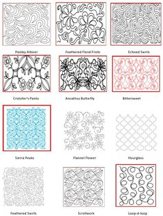 Longarm Quilting Patterns 3 - paisley allover and hour glass